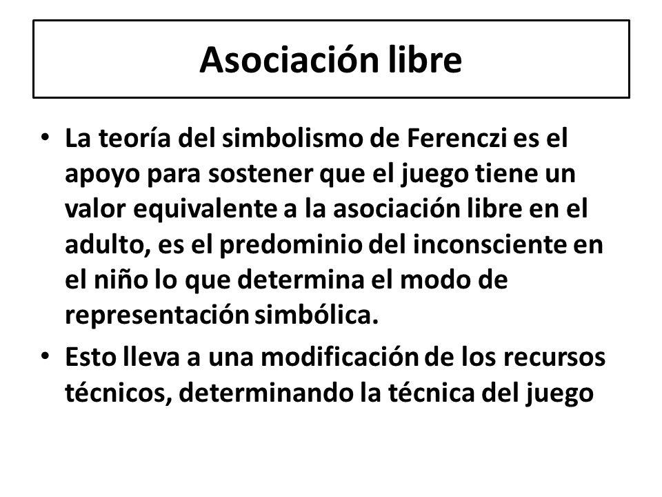 La teoría del simbolismo de Ferenczi es el apoyo para sostener que el juego tiene un valor equivalente a la asociación libre en el adulto, es el predo