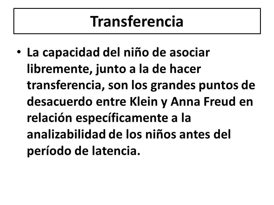Transferencia La capacidad del niño de asociar libremente, junto a la de hacer transferencia, son los grandes puntos de desacuerdo entre Klein y Anna