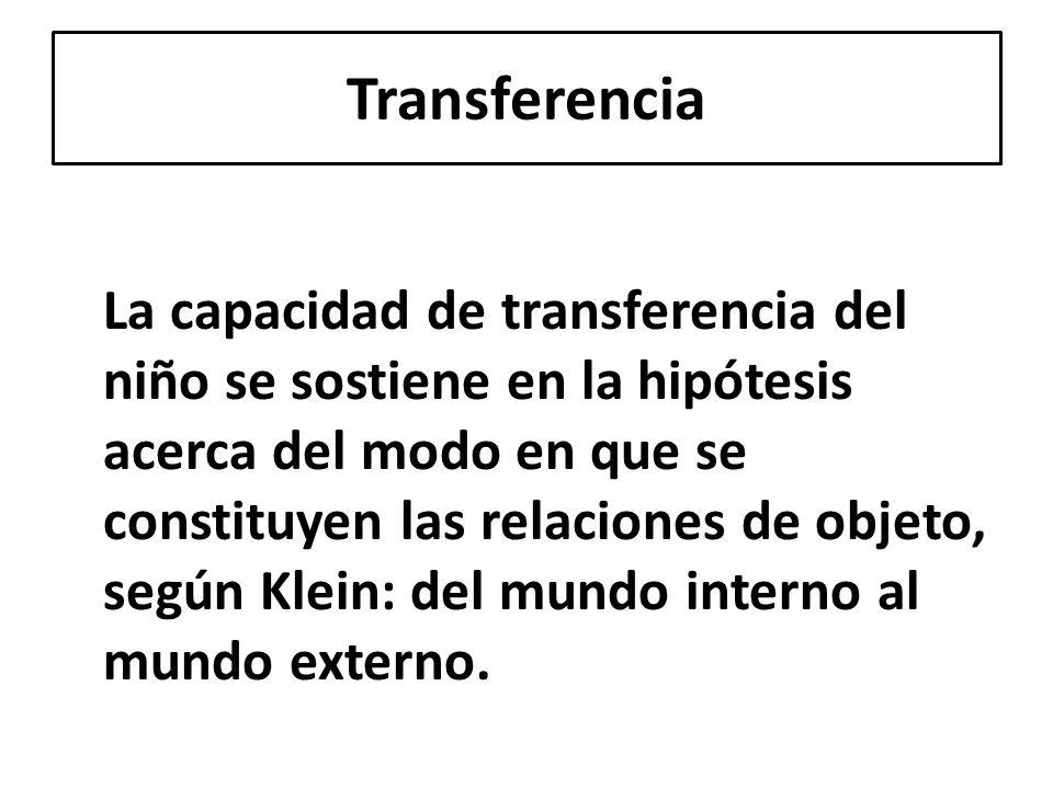 La capacidad de transferencia del niño se sostiene en la hipótesis acerca del modo en que se constituyen las relaciones de objeto, según Klein: del mu