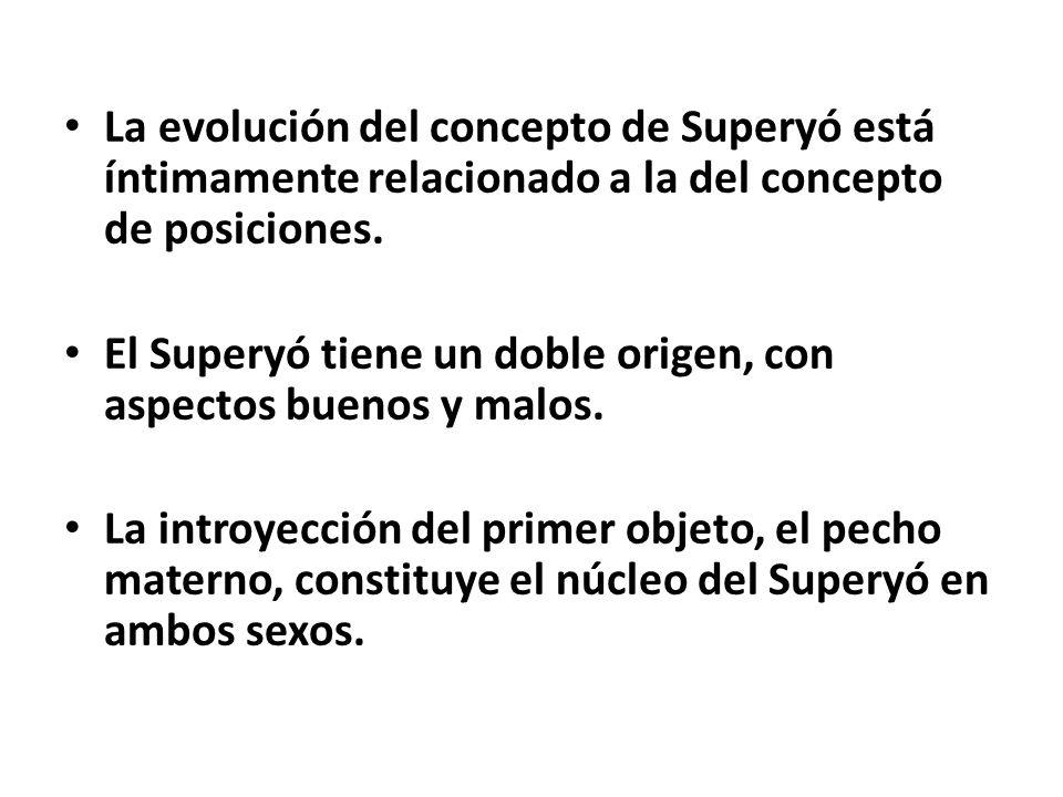 La evolución del concepto de Superyó está íntimamente relacionado a la del concepto de posiciones. El Superyó tiene un doble origen, con aspectos buen