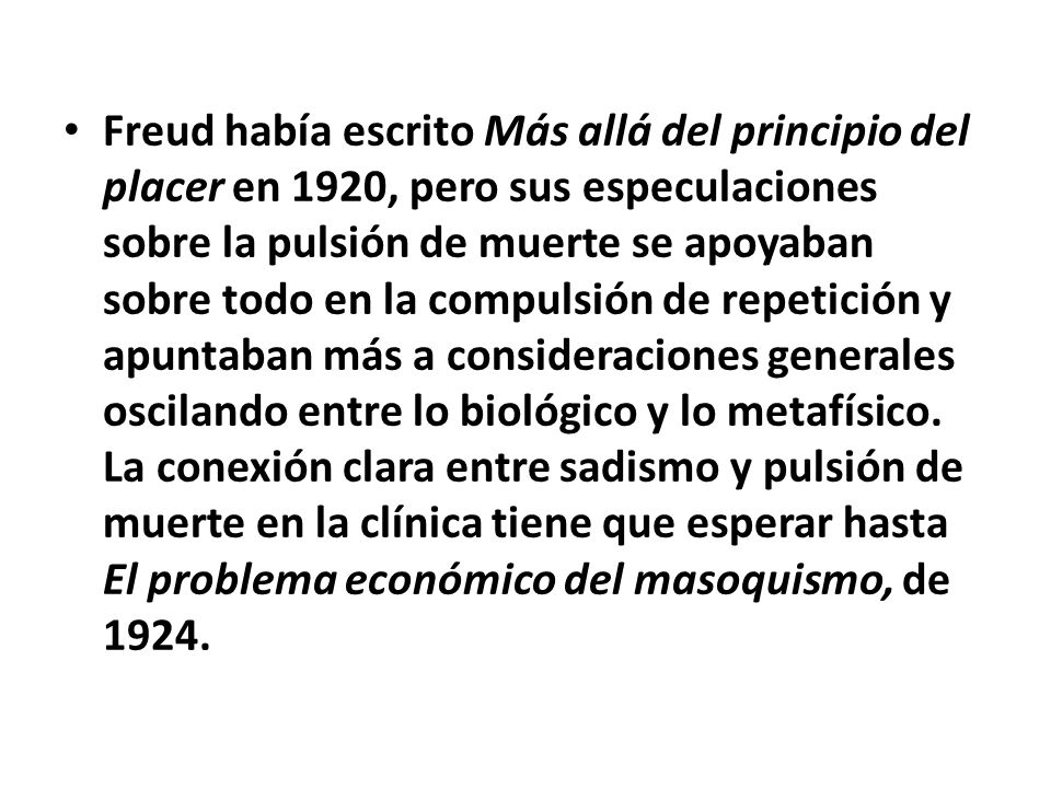 En 1928 Klein afirma: