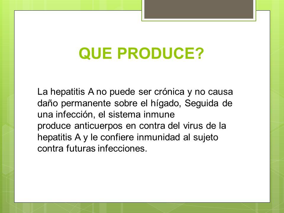 QUE PRODUCE? La hepatitis A no puede ser crónica y no causa daño permanente sobre el hígado, Seguida de una infección, el sistema inmune produce antic