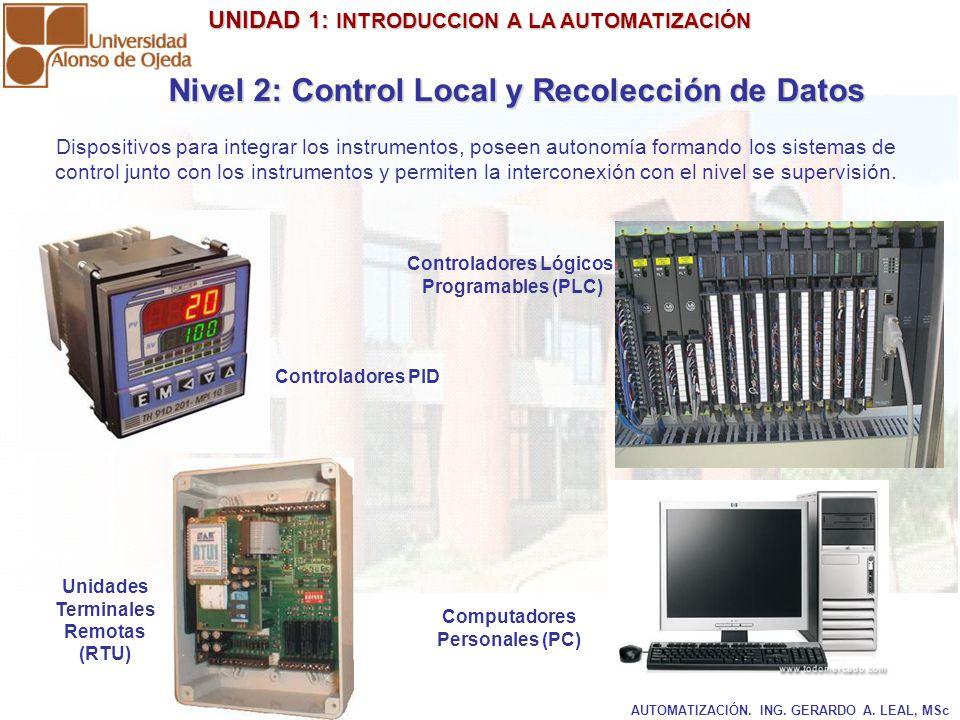 UNIDAD 1: INTRODUCCION A LA AUTOMATIZACIÓN UNIDAD 1: INTRODUCCION A LA AUTOMATIZACIÓN AUTOMATIZACIÓN. ING. GERARDO A. LEAL, MSc Dispositivos para inte