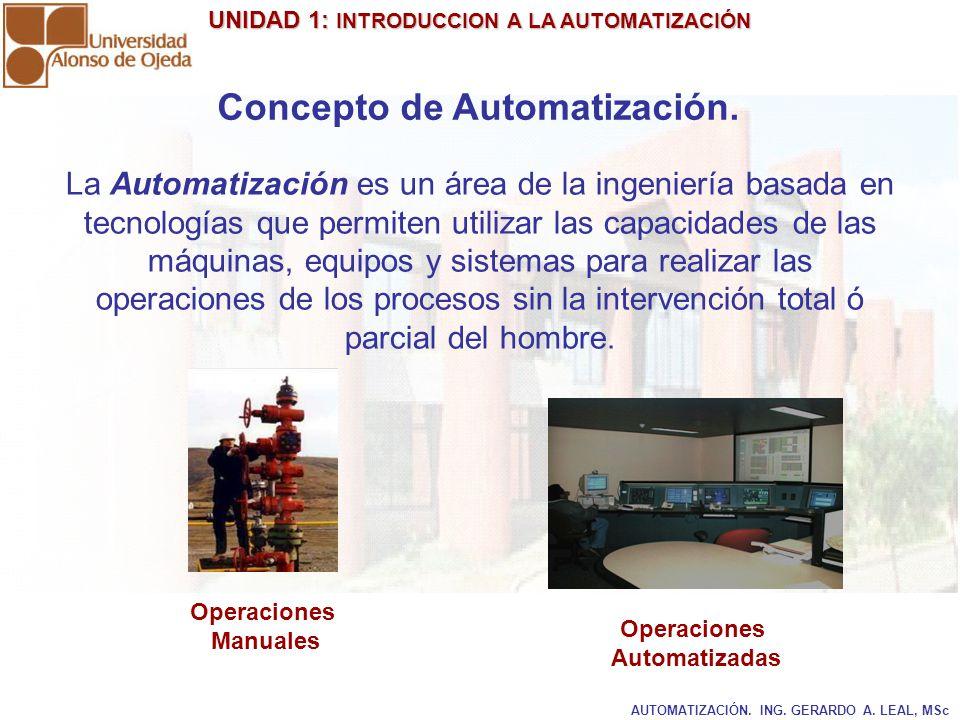 UNIDAD 1: INTRODUCCION A LA AUTOMATIZACIÓN UNIDAD 1: INTRODUCCION A LA AUTOMATIZACIÓN AUTOMATIZACIÓN. ING. GERARDO A. LEAL, MSc Concepto de Automatiza