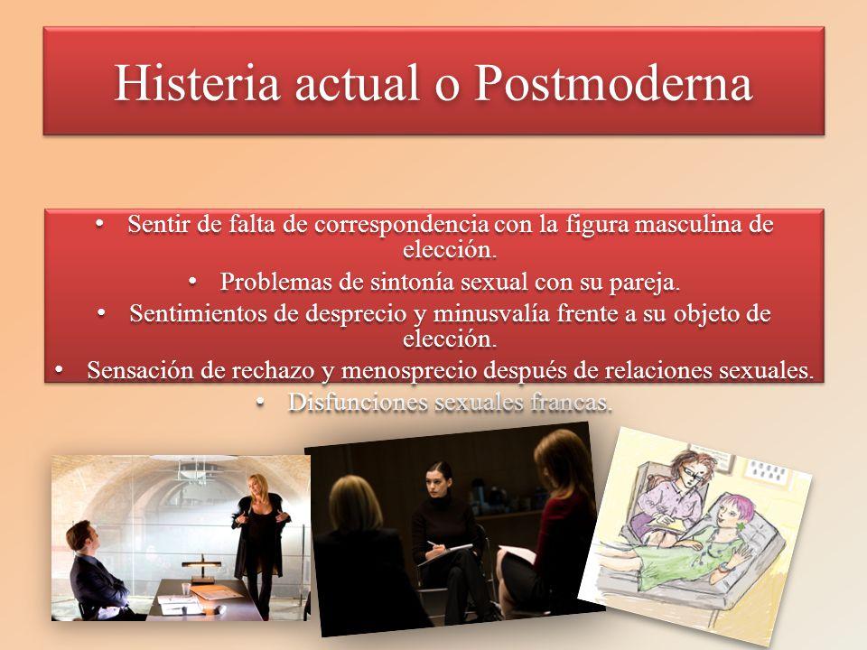 Histeria actual o Postmoderna Sentir de falta de correspondencia con la figura masculina de elección.Sentir de falta de correspondencia con la figura
