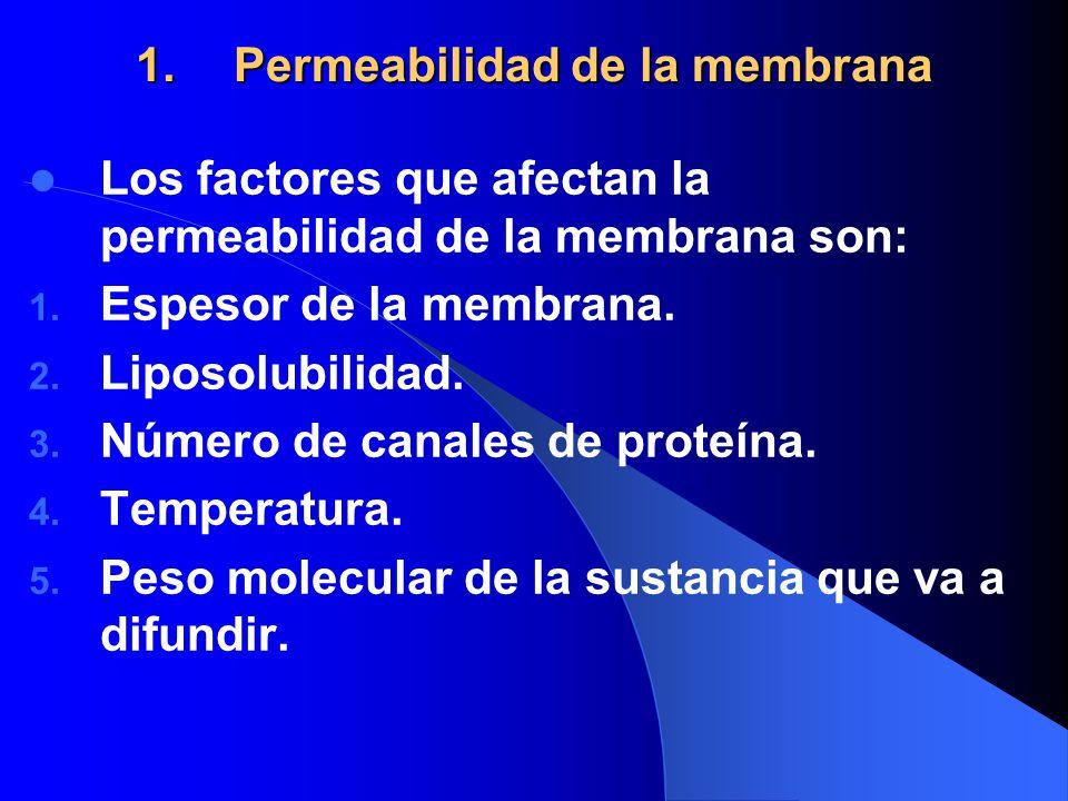 1.Permeabilidad de la membrana Los factores que afectan la permeabilidad de la membrana son: 1. Espesor de la membrana. 2. Liposolubilidad. 3. Número