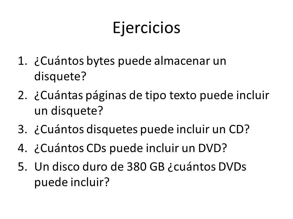 Ejercicios 1.¿Cuántos bytes puede almacenar un disquete? 2.¿Cuántas páginas de tipo texto puede incluir un disquete? 3.¿Cuántos disquetes puede inclui