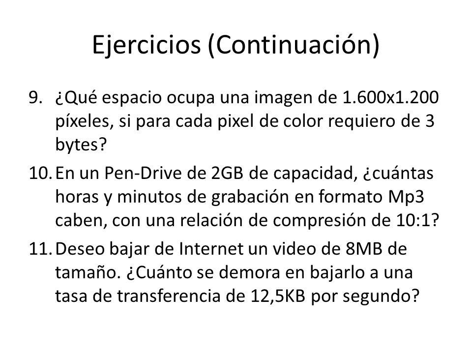 Ejercicios (Continuación) 9.¿Qué espacio ocupa una imagen de 1.600x1.200 píxeles, si para cada pixel de color requiero de 3 bytes? 10.En un Pen-Drive