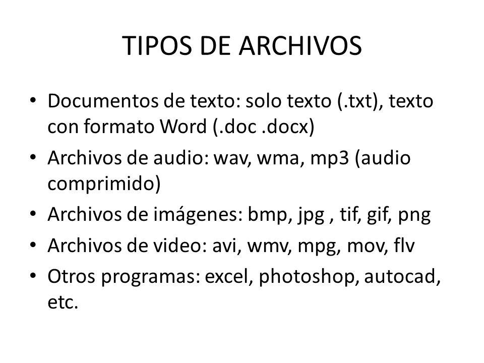 TIPOS DE ARCHIVOS Documentos de texto: solo texto (.txt), texto con formato Word (.doc.docx) Archivos de audio: wav, wma, mp3 (audio comprimido) Archivos de imágenes: bmp, jpg, tif, gif, png Archivos de video: avi, wmv, mpg, mov, flv Otros programas: excel, photoshop, autocad, etc.