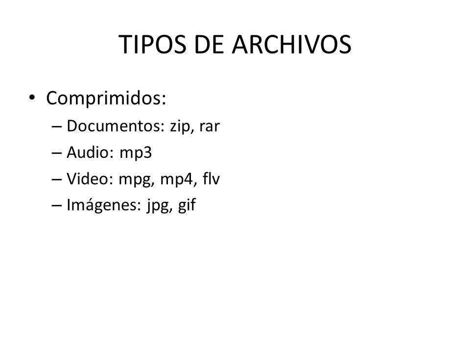 TIPOS DE ARCHIVOS Comprimidos: – Documentos: zip, rar – Audio: mp3 – Video: mpg, mp4, flv – Imágenes: jpg, gif