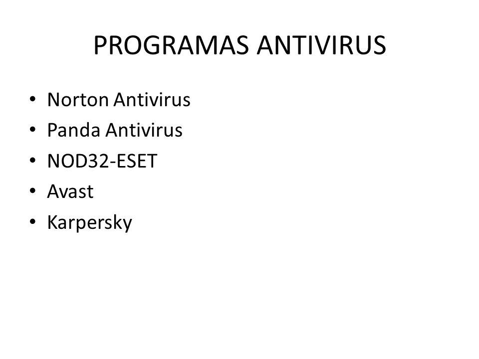 PROGRAMAS ANTIVIRUS Norton Antivirus Panda Antivirus NOD32-ESET Avast Karpersky