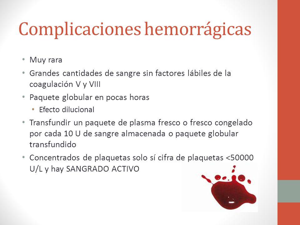 Complicaciones hemorrágicas Muy rara Grandes cantidades de sangre sin factores lábiles de la coagulación V y VIII Paquete globular en pocas horas Efec
