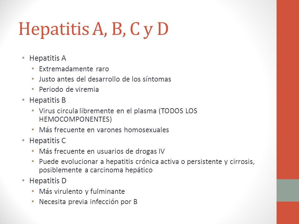 Hepatitis A, B, C y D Hepatitis A Extremadamente raro Justo antes del desarrollo de los síntomas Periodo de viremia Hepatitis B Virus circula libremen