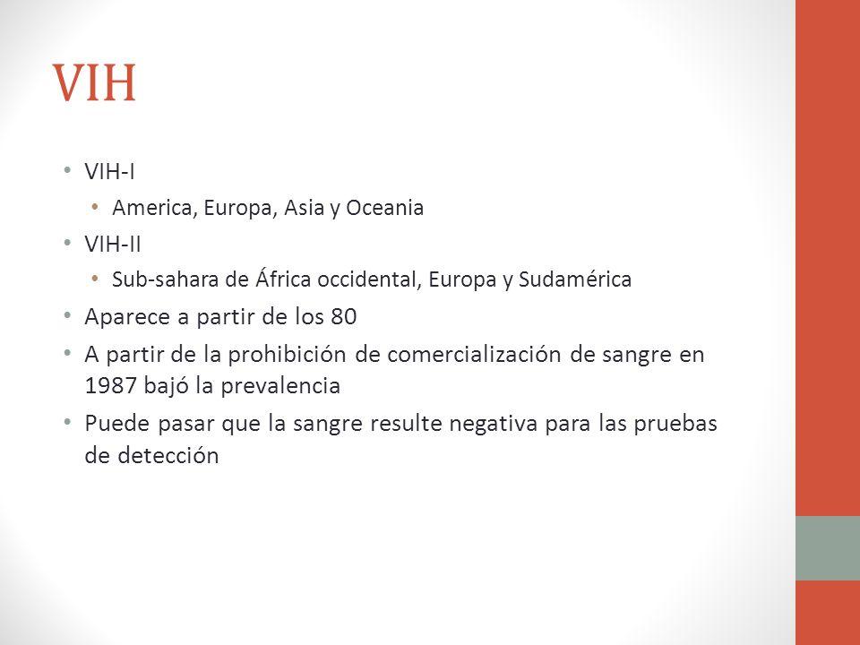 VIH VIH-I America, Europa, Asia y Oceania VIH-II Sub-sahara de África occidental, Europa y Sudamérica Aparece a partir de los 80 A partir de la prohib