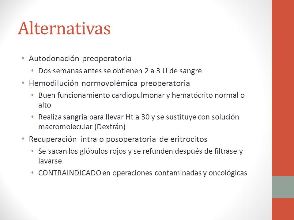 Alternativas Autodonación preoperatoria Dos semanas antes se obtienen 2 a 3 U de sangre Hemodilución normovolémica preoperatoria Buen funcionamiento c