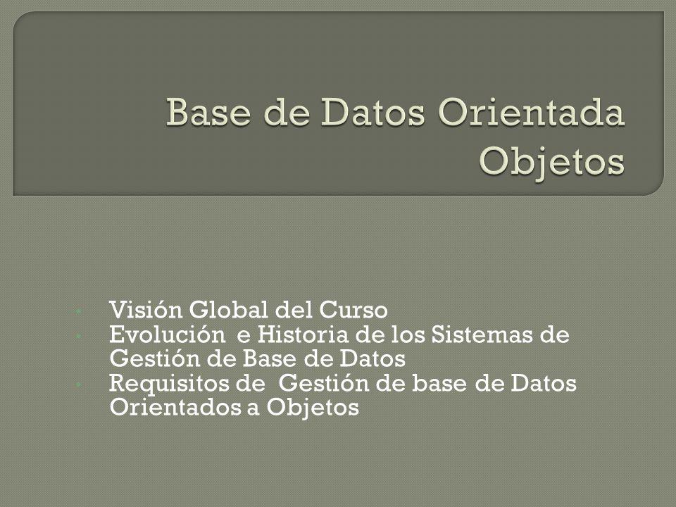 Visión Global del Curso Evolución e Historia de los Sistemas de Gestión de Base de Datos Requisitos de Gestión de base de Datos Orientados a Objetos