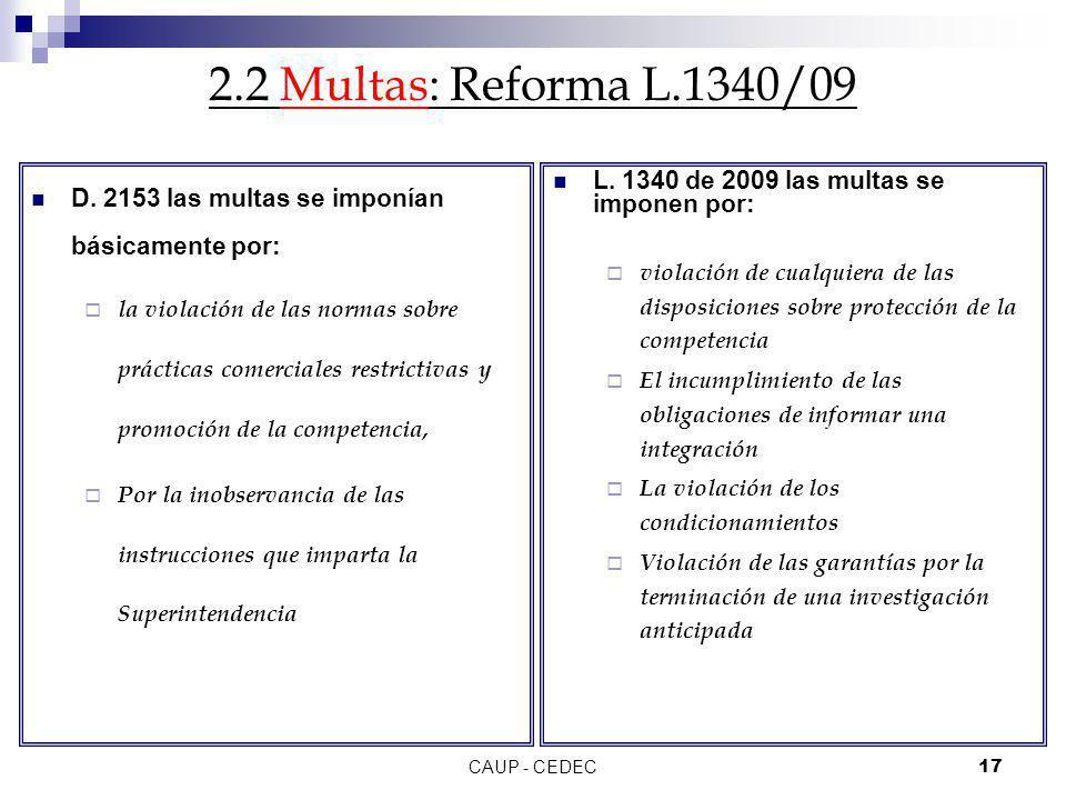 CAUP - CEDEC17 2.2 Multas: Reforma L.1340/09 D. 2153 las multas se imponían básicamente por: la violación de las normas sobre prácticas comerciales re