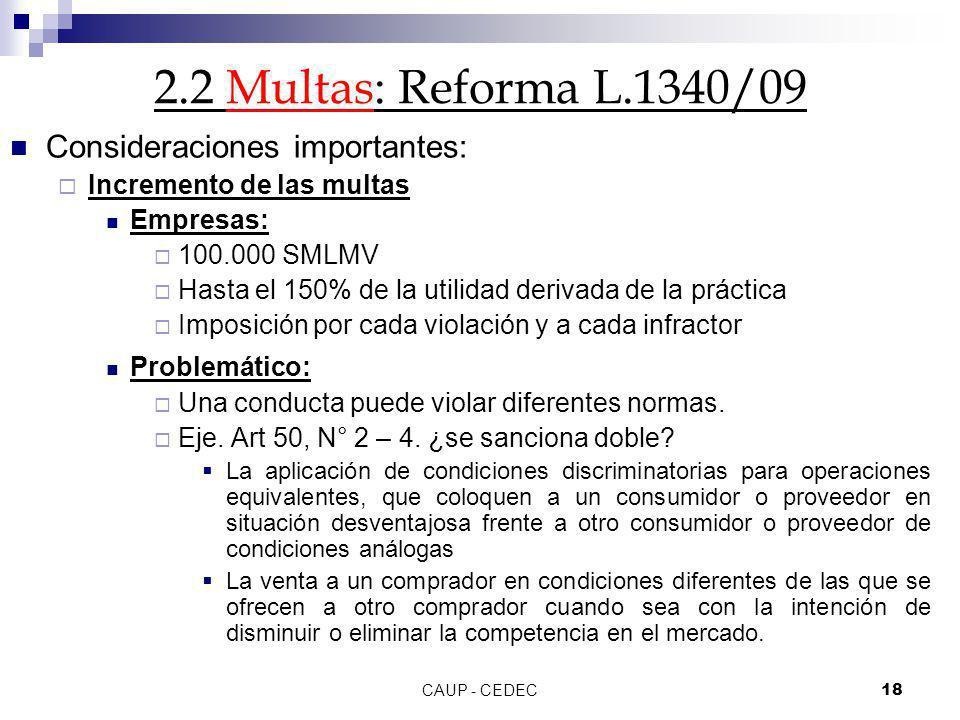 CAUP - CEDEC18 2.2 Multas: Reforma L.1340/09 Consideraciones importantes: Incremento de las multas Empresas: 100.000 SMLMV Hasta el 150% de la utilida