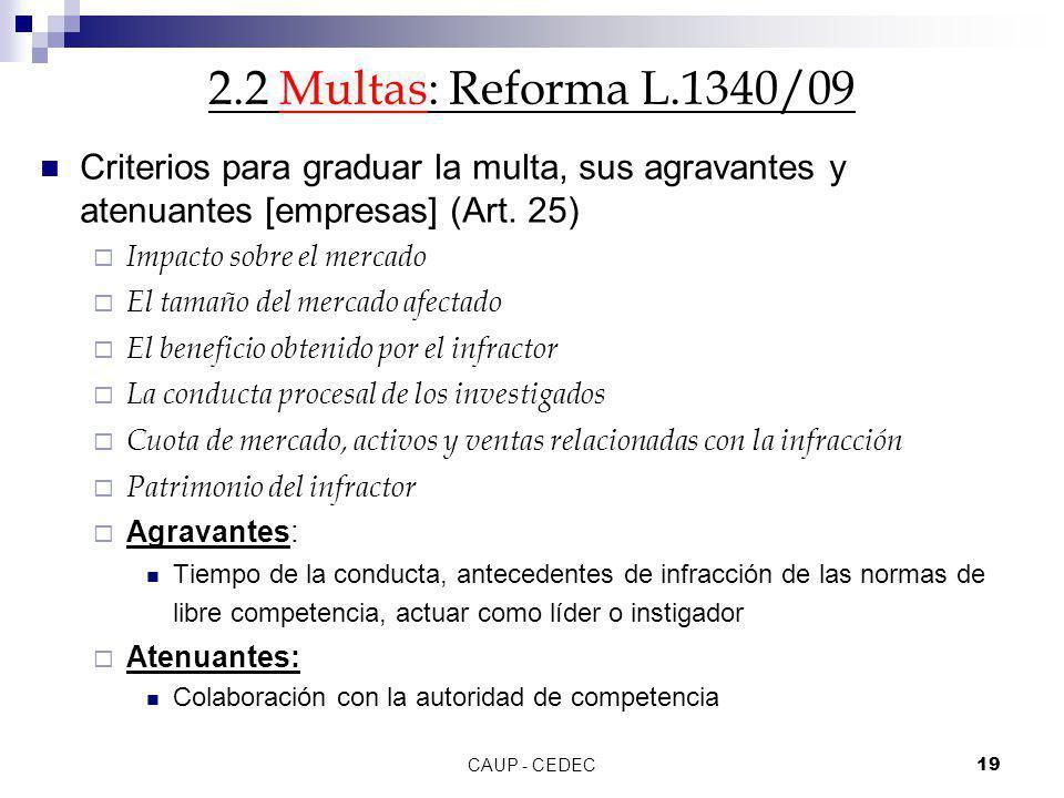 CAUP - CEDEC19 2.2 Multas: Reforma L.1340/09 Criterios para graduar la multa, sus agravantes y atenuantes [empresas] (Art. 25) Impacto sobre el mercad