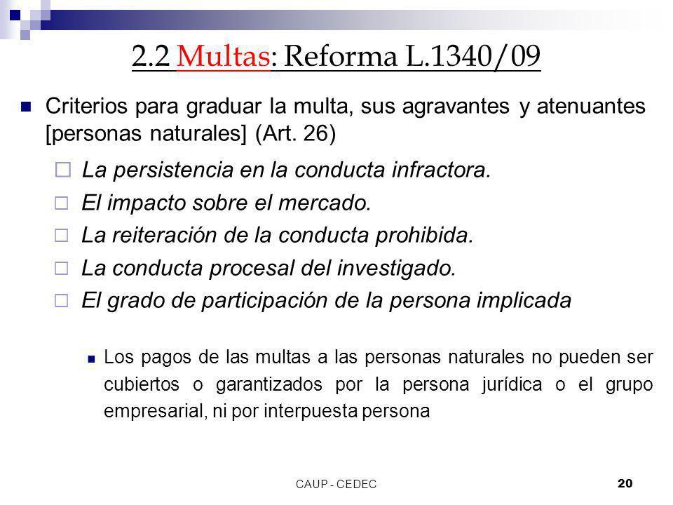 CAUP - CEDEC20 2.2 Multas: Reforma L.1340/09 Criterios para graduar la multa, sus agravantes y atenuantes [personas naturales] (Art. 26) La persistenc
