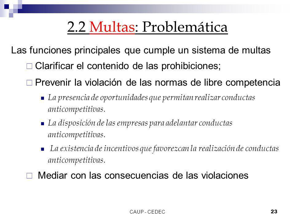 CAUP - CEDEC23 2.2 Multas: Problemática Las funciones principales que cumple un sistema de multas Clarificar el contenido de las prohibiciones; Preven