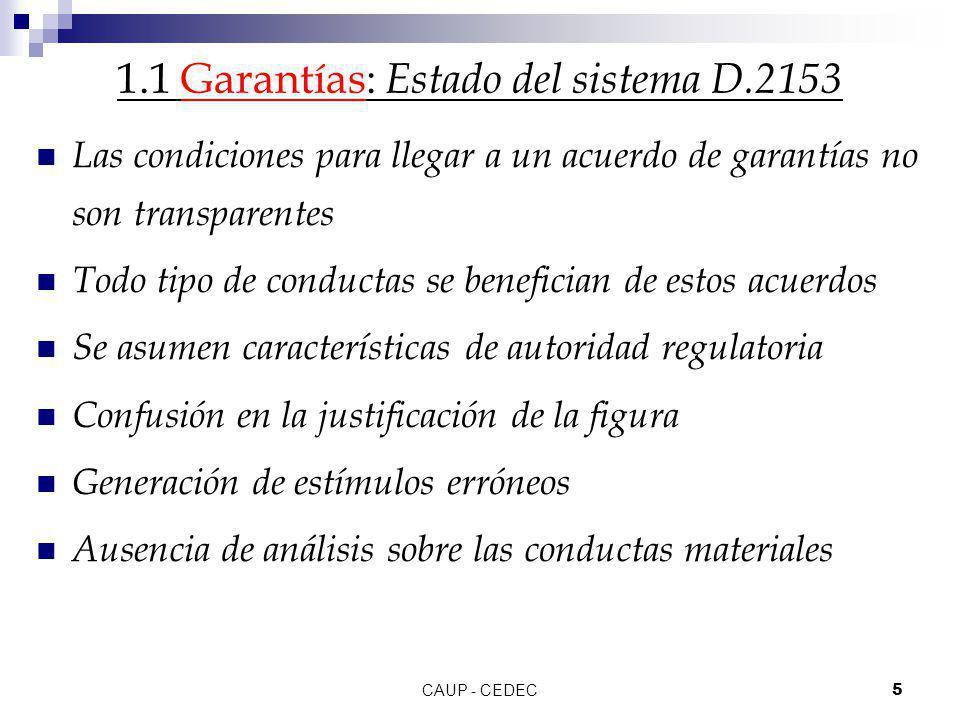 CAUP - CEDEC5 1.1 Garantías: Estado del sistema D.2153 Las condiciones para llegar a un acuerdo de garantías no son transparentes Todo tipo de conduct