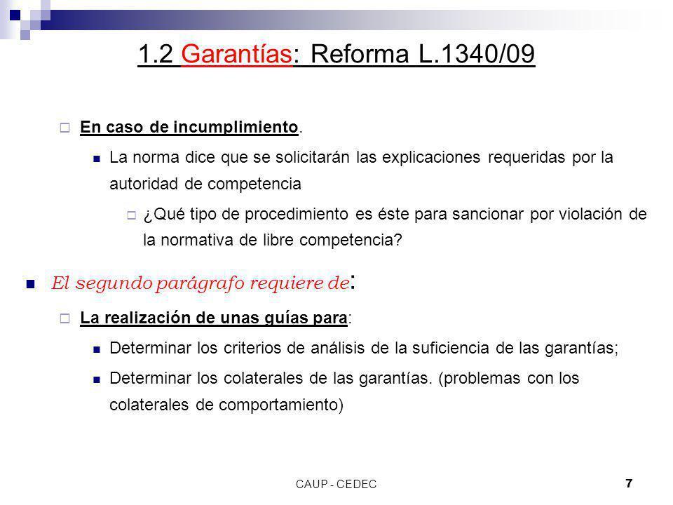 CAUP - CEDEC8 1.2 Garantías: Reforma L.1340/09 Publicidad de las garantías y participación de terceros Art.