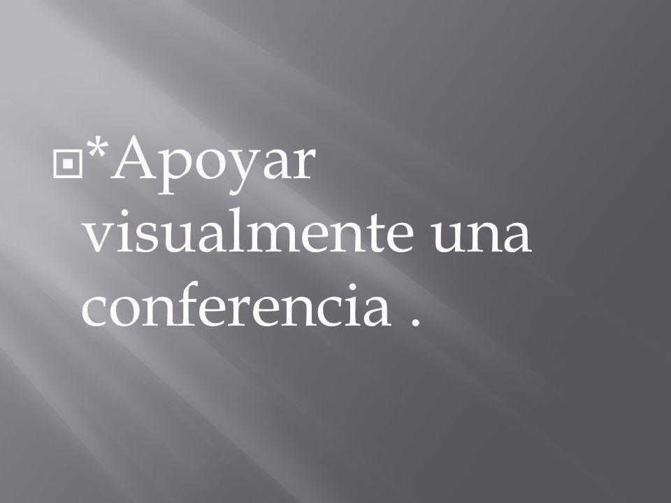 *Apoyar visualmente una conferencia.