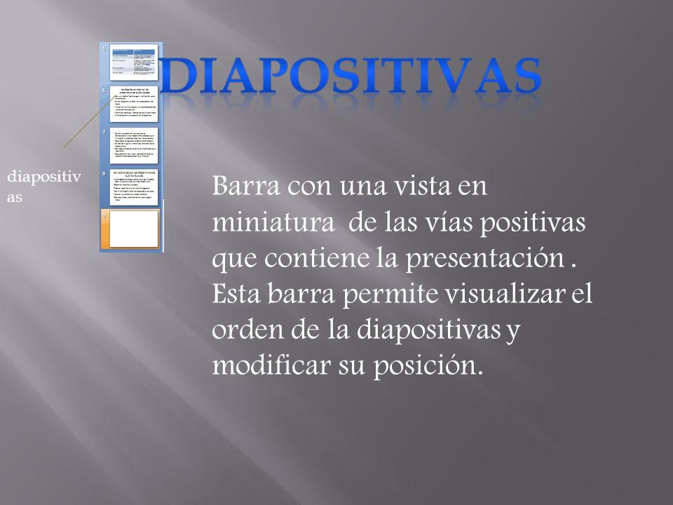 Barra con una vista en miniatura de las vías positivas que contiene la presentación. Esta barra permite visualizar el orden de la diapositivas y modif