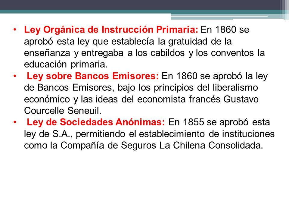 Ley Orgánica de Instrucción Primaria: En 1860 se aprobó esta ley que establecía la gratuidad de la enseñanza y entregaba a los cabildos y los conventos la educación primaria.