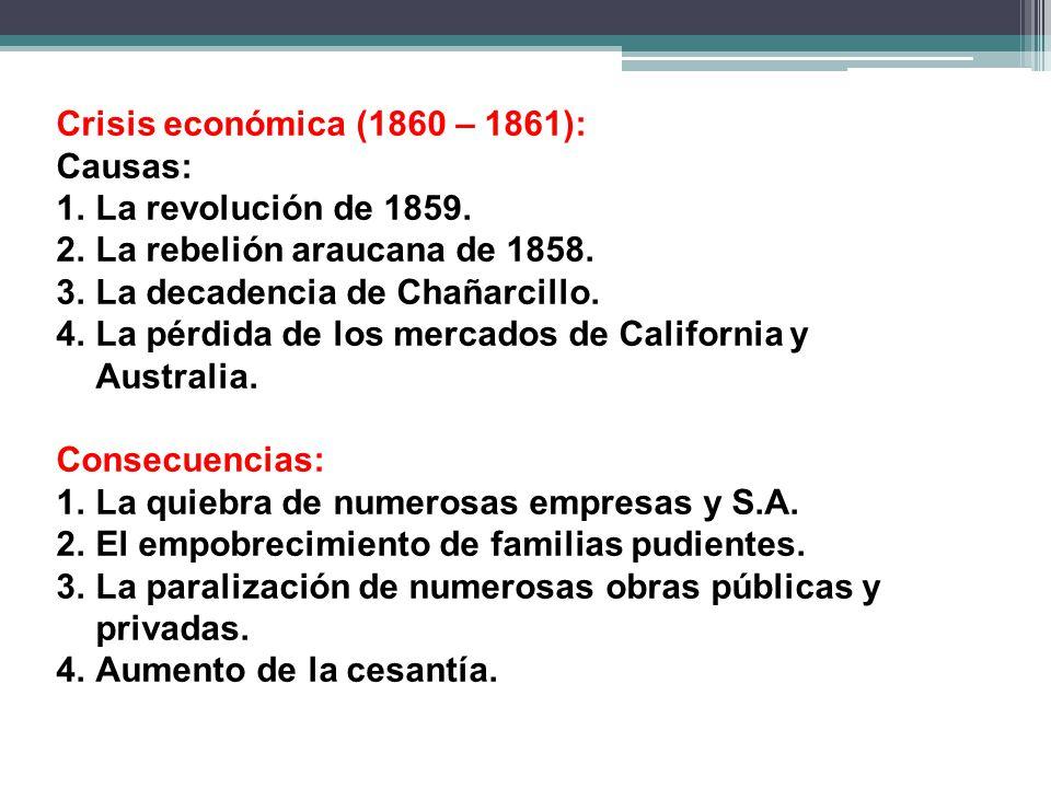 Crisis económica (1860 – 1861): Causas: 1.La revolución de 1859.