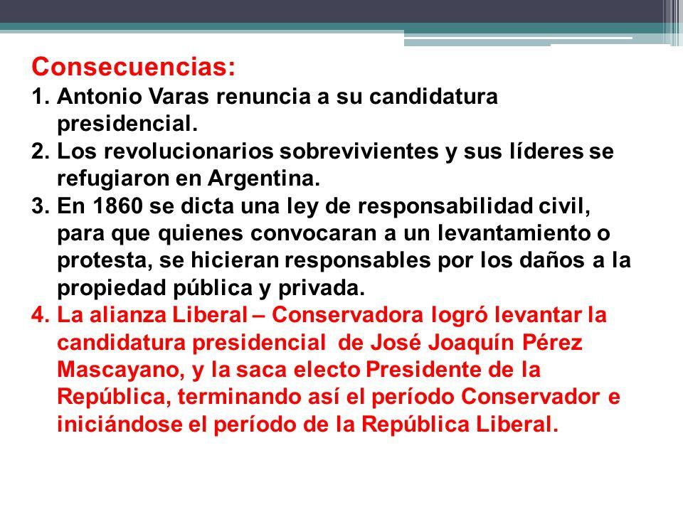 Consecuencias: 1.Antonio Varas renuncia a su candidatura presidencial.
