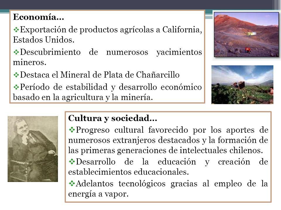 Economía… Exportación de productos agrícolas a California, Estados Unidos.