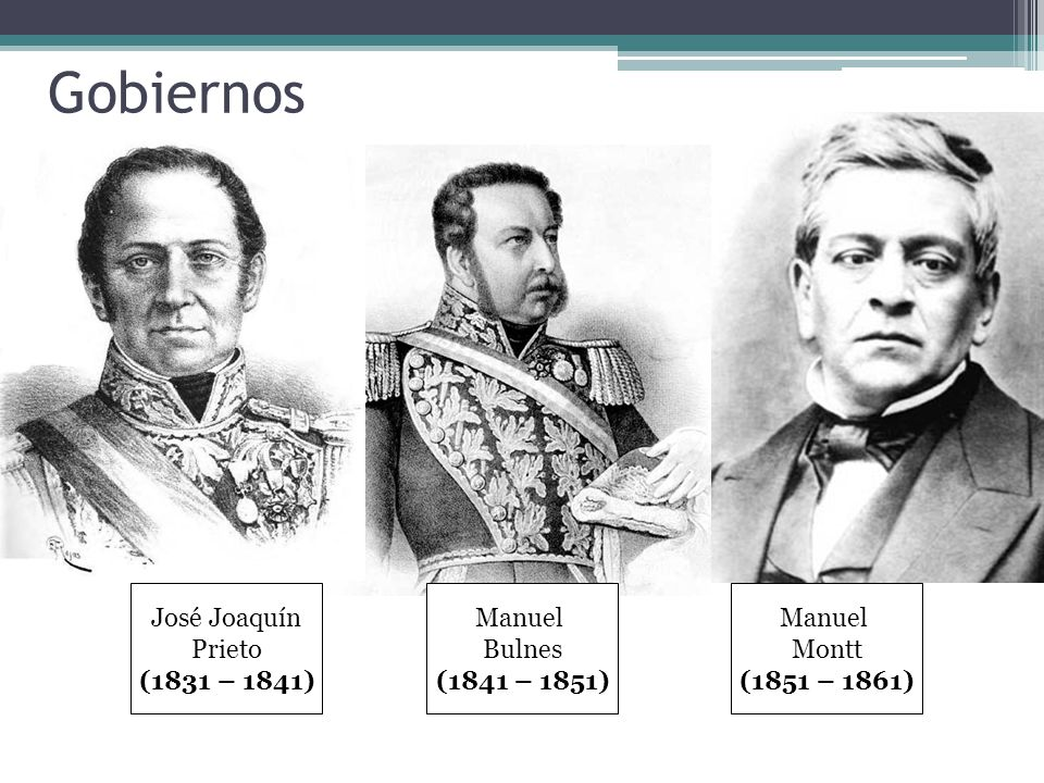 José Joaquín Prieto (1831-1841) Inicio de la organización definitiva de la república.