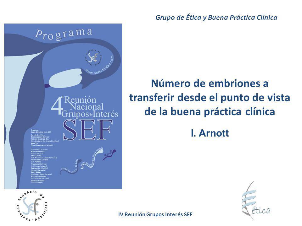 IV Reunión Grupos Interés SEF Deben: Elaborar recomendaciones, basadas en el estado del conocimiento, sobre el número idóneo de embriones a transferir para prevenir la gestación múltiple derivada de FIV-ICSI sin menoscabar las tasas de eficacia Utilizar indicadores de eficacia para la evaluación de los resultados de las técnicas de FIV-ICSI que contemplen también el final del proceso Reemplazar los índices tradicionales: Las Sociedades Científicas Grupo de Ética y Buena Práctica Clínica Tasa embarazo/ciclo Tasa embarazo/transferencia Tasa implantación Tasa recién nacido único/transferencia Tasa recién nacido/embrión transferido