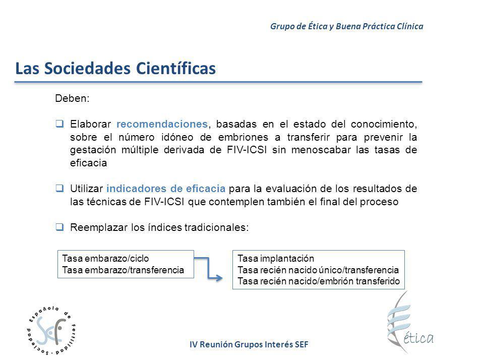 IV Reunión Grupos Interés SEF Deben: Elaborar recomendaciones, basadas en el estado del conocimiento, sobre el número idóneo de embriones a transferir