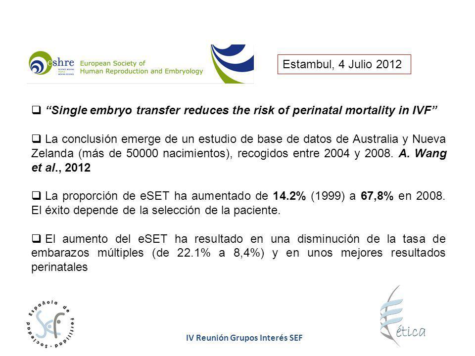 IV Reunión Grupos Interés SEF Estambul, 4 Julio 2012 Single embryo transfer reduces the risk of perinatal mortality in IVF La conclusión emerge de un