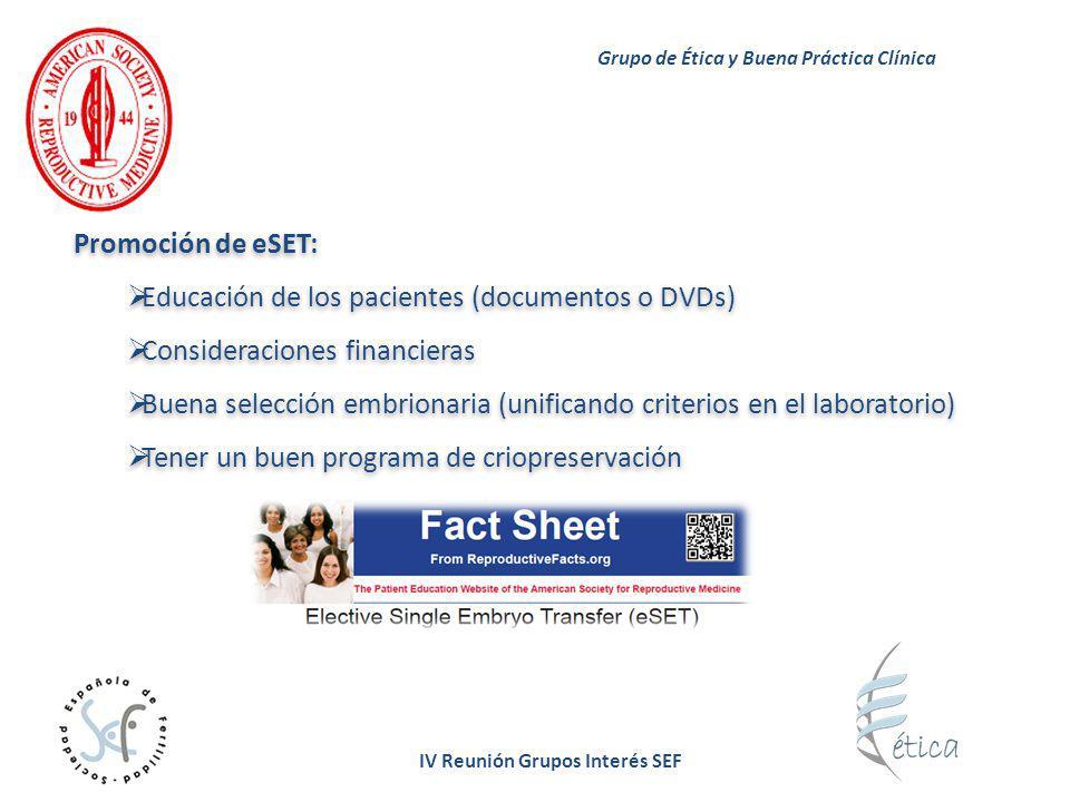 IV Reunión Grupos Interés SEF Promoción de eSET: Educación de los pacientes (documentos o DVDs) Consideraciones financieras Buena selección embrionari