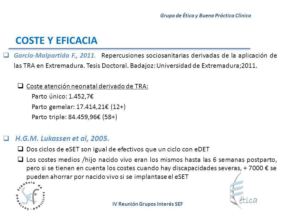 IV Reunión Grupos Interés SEF Grupo de Ética y Buena Práctica Clínica COSTE Y EFICACIA García-Malpartida F., 2011. Repercusiones sociosanitarias deriv