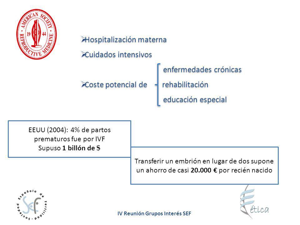 IV Reunión Grupos Interés SEF Hospitalización materna Cuidados intensivos enfermedades crónicas Coste potencial de rehabilitación educación especial H