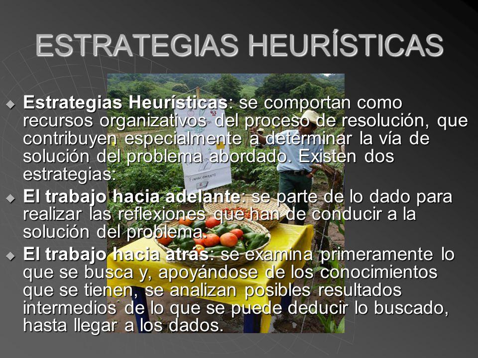 ESTRATEGIAS HEURÍSTICAS Estrategias Heurísticas: se comportan como recursos organizativos del proceso de resolución, que contribuyen especialmente a determinar la vía de solución del problema abordado.
