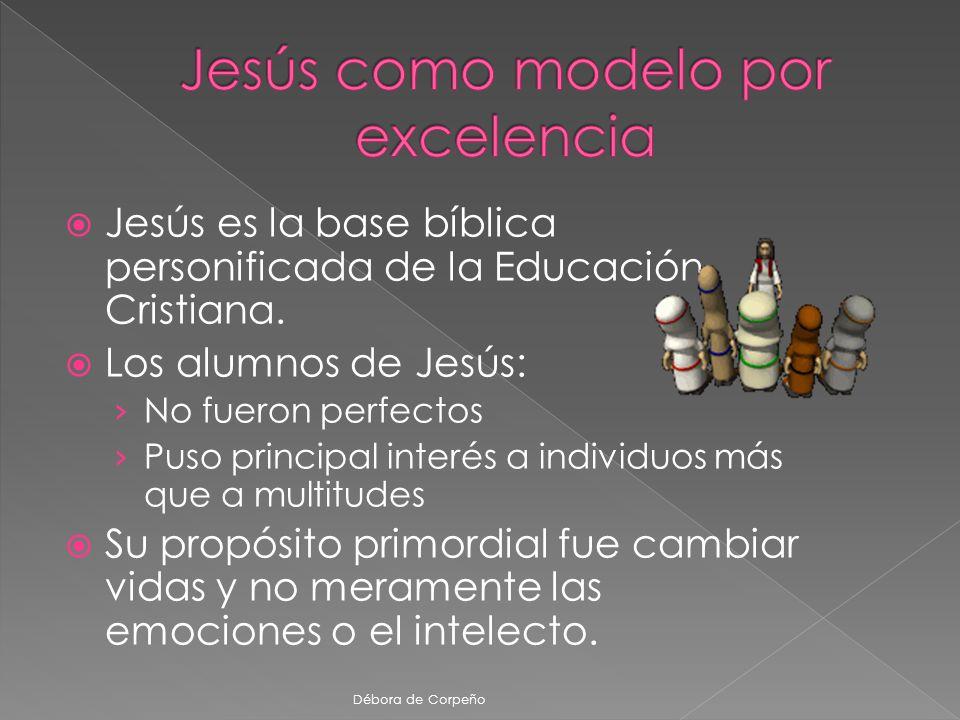 Jesús es la base bíblica personificada de la Educación Cristiana. Los alumnos de Jesús: No fueron perfectos Puso principal interés a individuos más qu