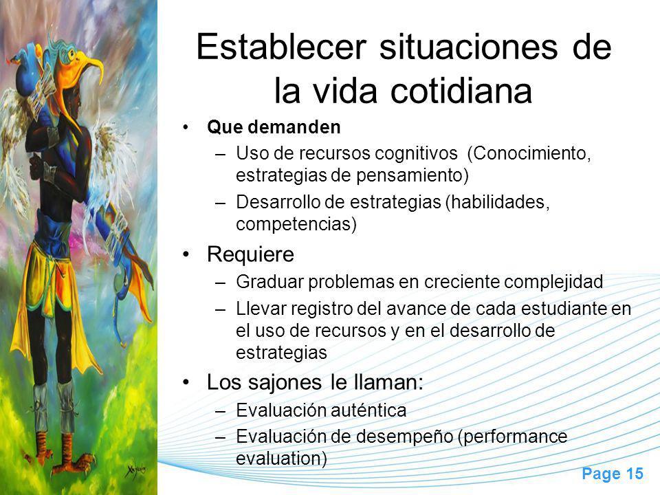 Page 15 Establecer situaciones de la vida cotidiana Que demanden –Uso de recursos cognitivos (Conocimiento, estrategias de pensamiento) –Desarrollo de