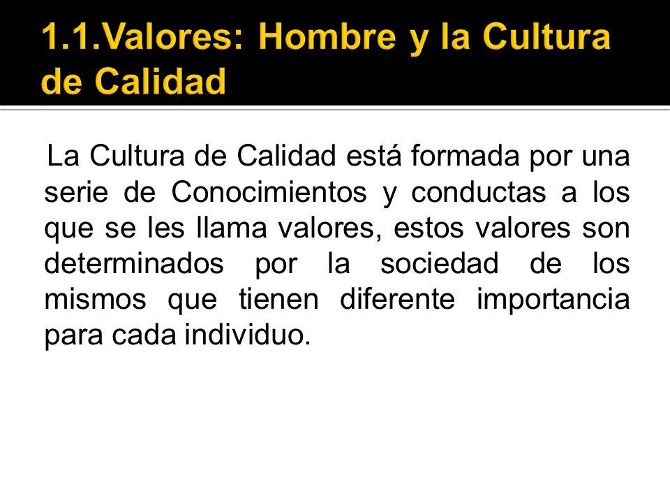 La Cultura de Calidad está formada por una serie de Conocimientos y conductas a los que se les llama valores, estos valores son determinados por la so