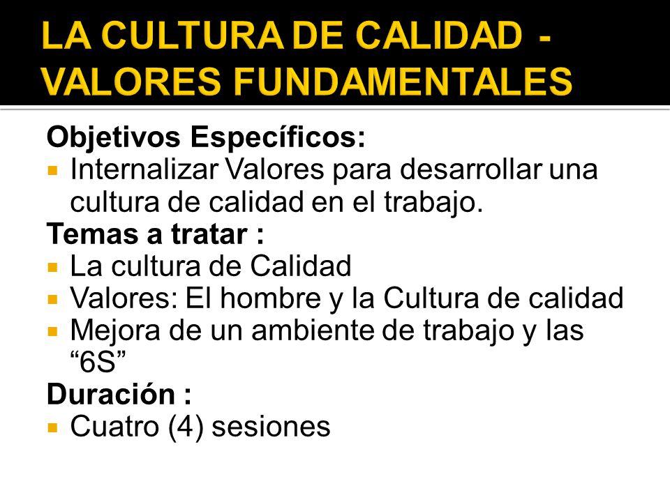 Objetivos Específicos: Internalizar Valores para desarrollar una cultura de calidad en el trabajo. Temas a tratar : La cultura de Calidad Valores: El