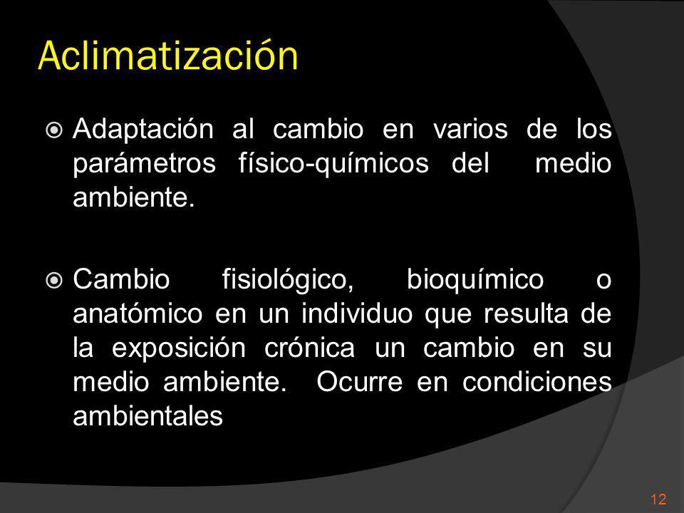 Aclimatización Adaptación al cambio en varios de los parámetros físico-químicos del medio ambiente. Cambio fisiológico, bioquímico o anatómico en un i