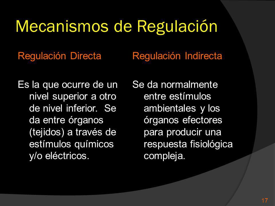 Mecanismos de Regulación Regulación Directa Es la que ocurre de un nivel superior a otro de nivel inferior. Se da entre órganos (tejidos) a través de