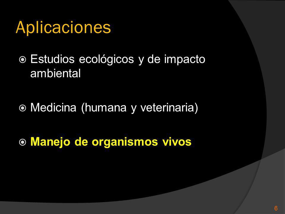 Aplicaciones Estudios ecológicos y de impacto ambiental Medicina (humana y veterinaria) Manejo de organismos vivos 6