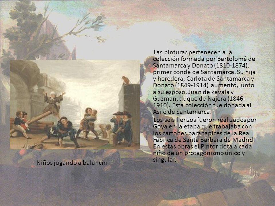 Las pinturas pertenecen a la colección formada por Bartolomé de Santamarca y Donato (1810-1874), primer conde de Santamarca. Su hija y heredera, Carlo