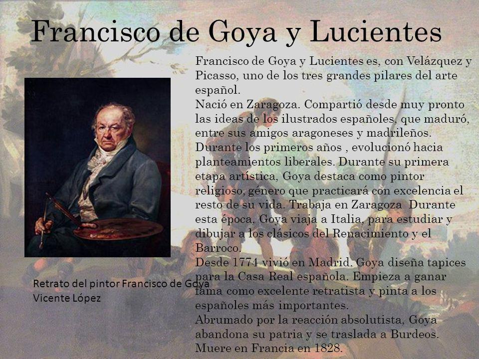 Descomposición de la pintura Goya concede un gran protagonismo al paisaje, en cuyo fondo aparecen unas construcciones arquitectónicas un tanto difuminadas e imprecisas, una arboleda y un arroyo con lavanderas de diminuto tamaño.